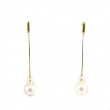 Orecchini lunghi oro, perle