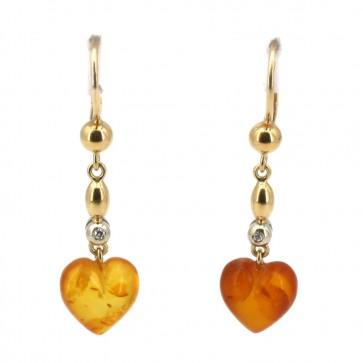 Orecchini pendenti oro, cuori ambra e diamanti