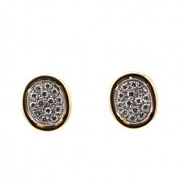 Orecchini toppe ovali oro bicolore e diamanti