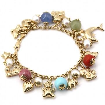Bracciale charms, oro, pietre dure e perle