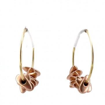 Orecchini anelle, oro giallo con pepite charms
