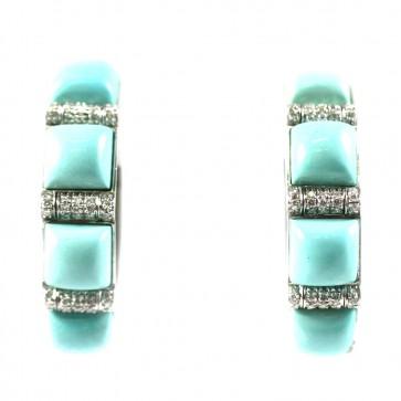 Orecchini anelle, oro, quadri di turchese e diamanti - 0,75 ct - 27 gr; 3,5 cm
