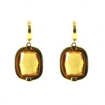 Orecchini pendenti oro giallo, quarzo citrino - 3,8 cm; 17,6 gr