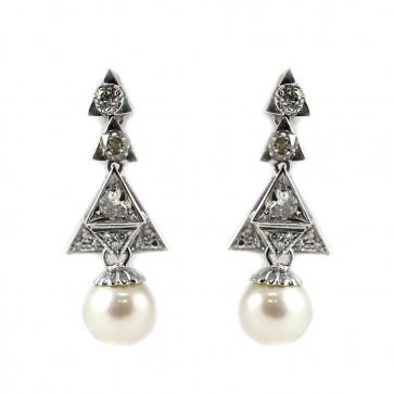 Orecchini pendenti in stile decò, triangoli oro e diamanti - 2-2,20 ct - con perla