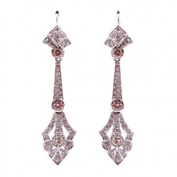 Orecchini pendenti in stile liberty oro e diamanti