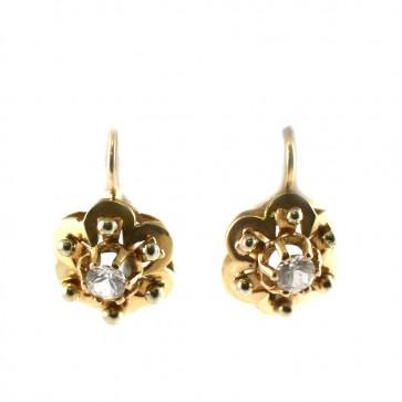 Orecchini toppe fiori in stile, oro e zirconi;