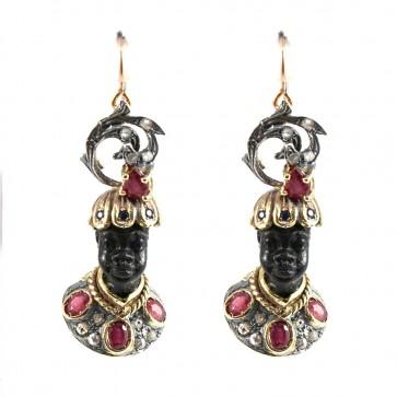 Orecchini artistici Moro di Venezia, oro, argento e pietre di colore