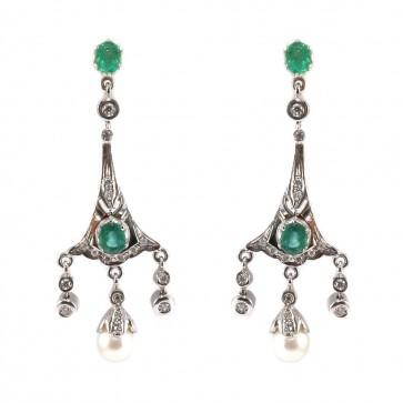 Orecchini pendenti chandelier oro, perle, smeraldi
