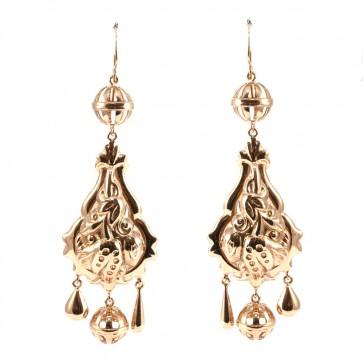 Orecchini oro pendenti maxi in stile borbonico