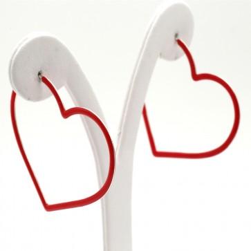 Orecchini anelle a cuore argento a smalto rosso