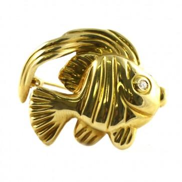 Spilla pesce  oro e diamantino - 4,12 gr; 3 cm