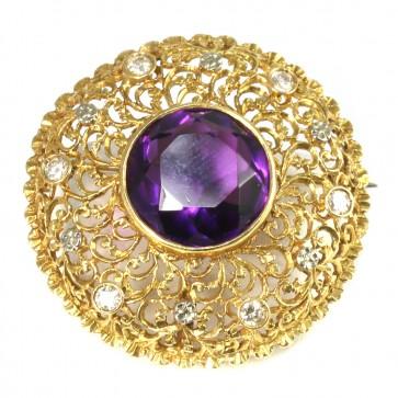 Spilla/ciondolo circolare in stile oro, diamanti
