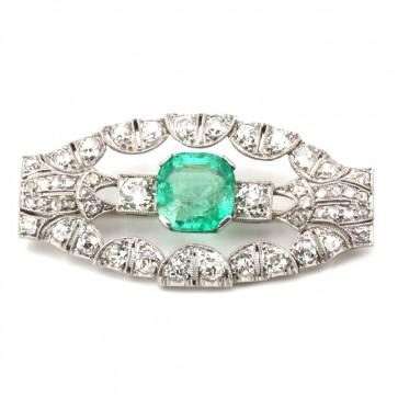 Spilla autentica decò, antica, oro, diamanti e maxi smeraldo