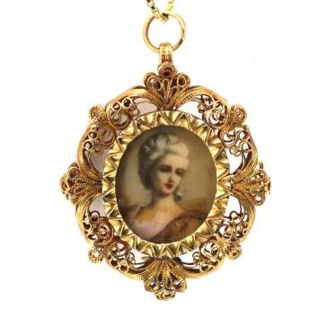 Spilla/Ciondolo antico, con dipinto nobildonna, in oro