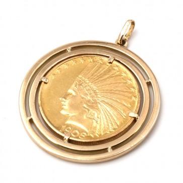 Ciondolo in oro con moneta da 10 dollari americani