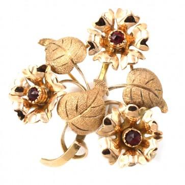 Spilla in stile fiori oro e granati