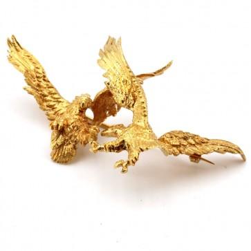 Spilla antica scultura aquile in volo,