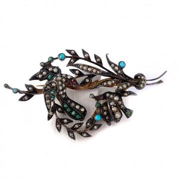 Spilla antica ramo con uccellini, in oro , argento, microperle e turchese