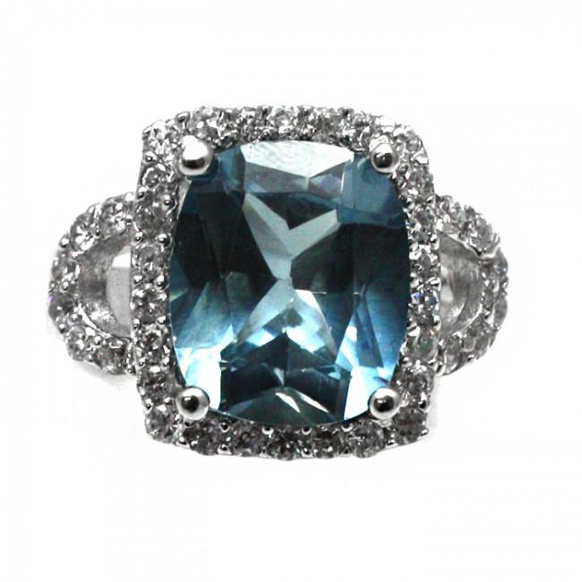 Famoso argento, pietra azzurra di sintesi e zirconi NI86