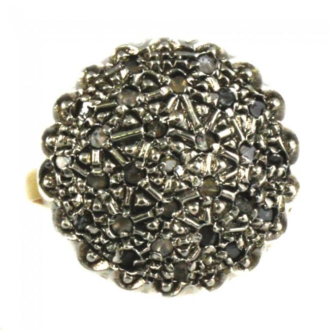 prezzo folle alta qualità prezzo abbordabile Anello toppa in stile oro, argento e diamanti -8,9 gr