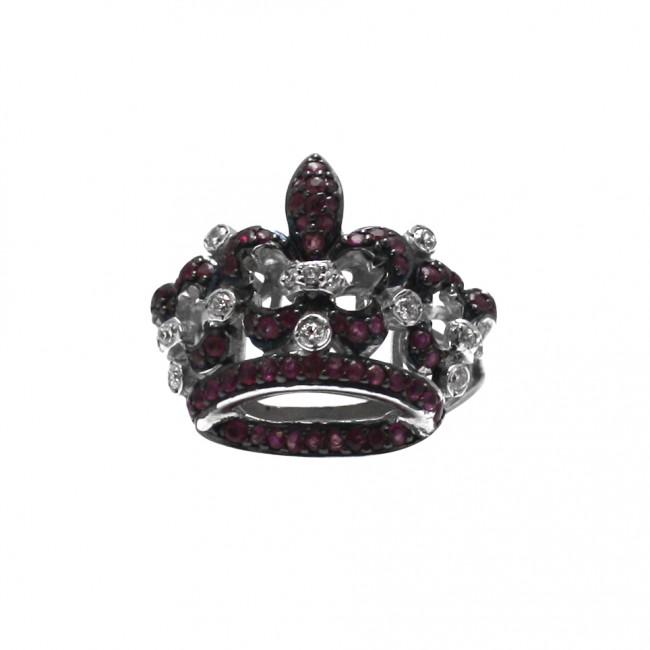 hot sale online 1c3ce be246 Anello corona argento, rubini e zirconi