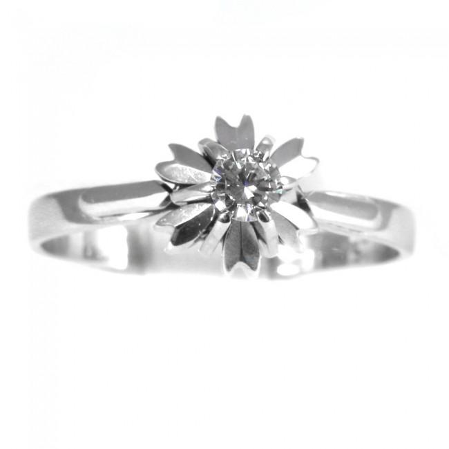 comprare buona vendita stile romanzo Anello solitario, montatura fiore, oro e diamante - 0,15-0,18 ct; 3,15 gr