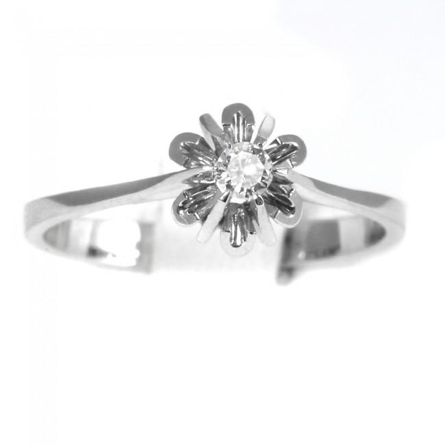 negozio online 5cd56 87d1a Anello solitario, montatura fiore, oro e diamante - 0,08-0,10 ct; 2,5 gr