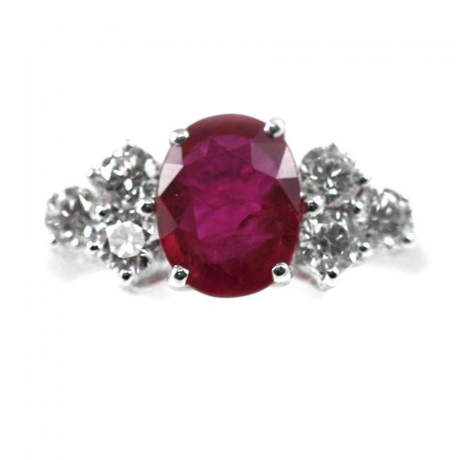 migliore a buon mercato b459f 2d131 Anello oro, diamanti -0,36 ct- e rubino -1,28 ct; 4,2 gr