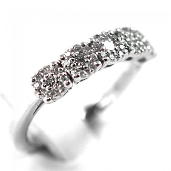 nuove foto consistenza netta professionale Anello riviera 5 fiorellini oro e diamanti -0,51 ct; 3,8 gr