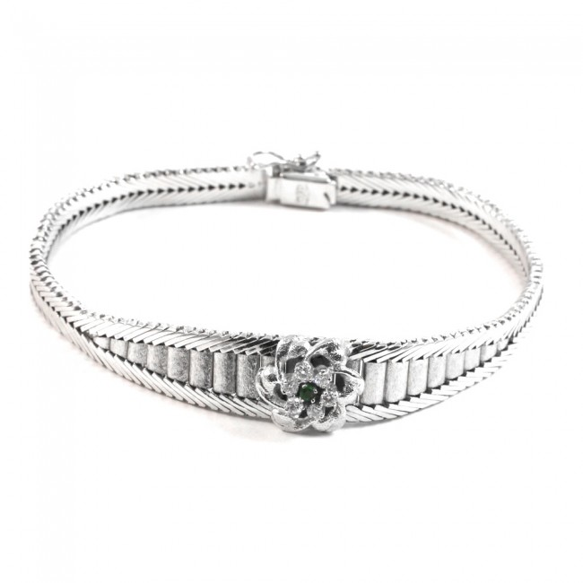 nuovi prezzi più bassi aspetto elegante design unico Bracciale in stile a piastre satinate, oro, diamanti - 0.28 ct- e smeraldi  - 0.07 ct - 28.7 gr. 19 cm x 1.2 cm.