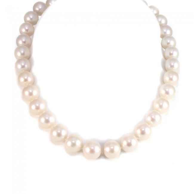 foto ufficiali 5f927 accd5 Collana girocollo di perle australiane - 12-14 mm, oro e diamanti ...