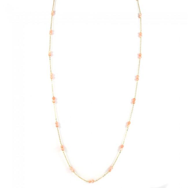 prezzo più basso cb15a 1d861 Collana lunga catena d'oro e corallo rosa - 10 gr; 75 cm