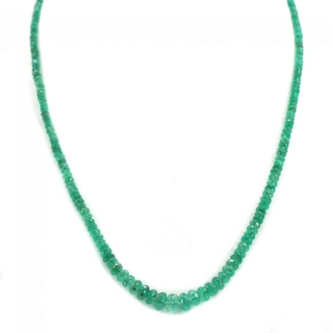nuove immagini di caldo-vendita carino e colorato Collana un filo smeraldi a scalare - 65 ct - e oro. 51.5 cm; 13.7 gr.