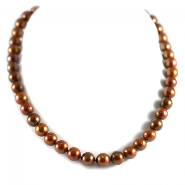 ab3e7b512a5f Collana di perle di marroni coltivate - 10-10