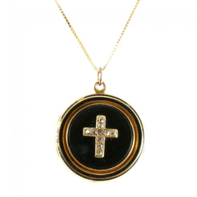 nuovo prodotto 07897 b7516 Ciondolo portafoto casolette antico oro, onice e diamanti -15,6 gr