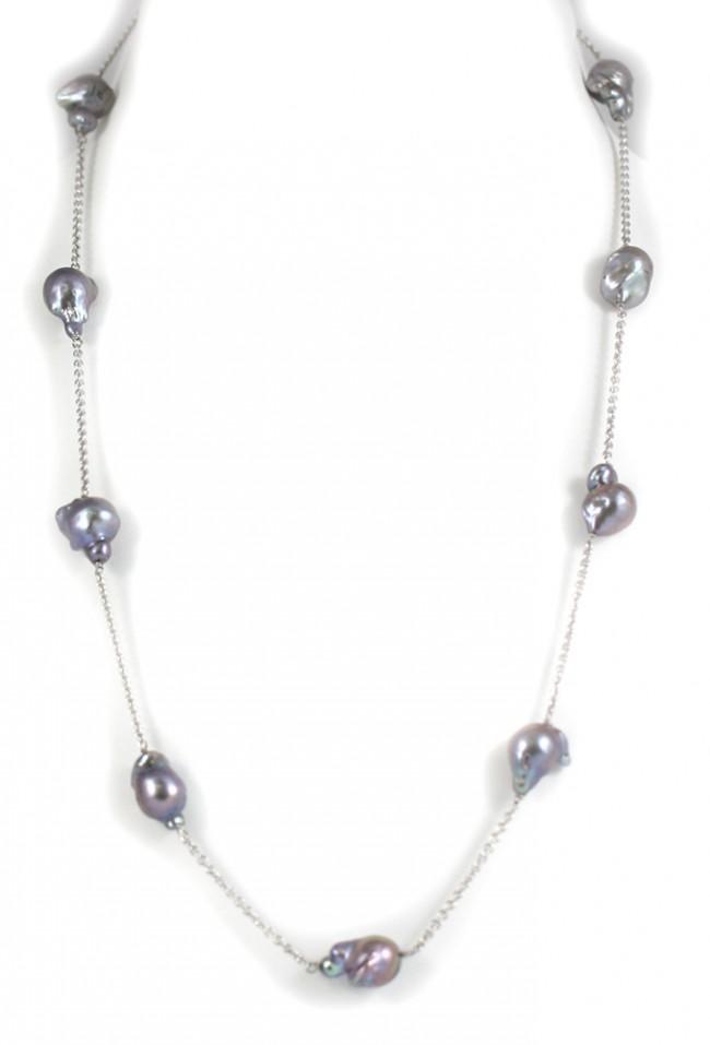 100% autentico 21c83 45ab2 Collana modello catena, oro e perle barocche grey - 69 cm; 39,4 gr