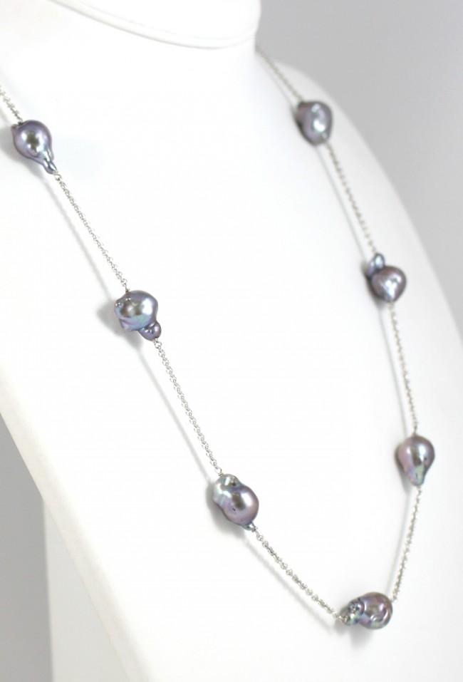 100% autentico fb4eb b8ac8 Collana modello catena, oro e perle barocche grey - 69 cm; 39,4 gr