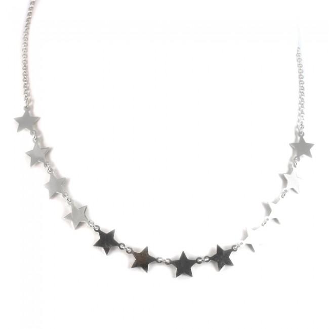 acquisto economico 2a192 03299 Collana argento bianco e 11 stelle - 40 cm + 5 cm; 4,7 gr