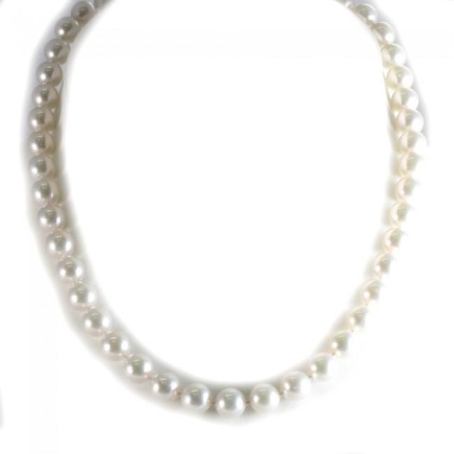 comprare on line ba9ba 5a4a7 Collana girocollo di perle giapponesi - 9-9,5 mm, oro e diamanti -0,15 ct-  46 cm; 52,6 gr