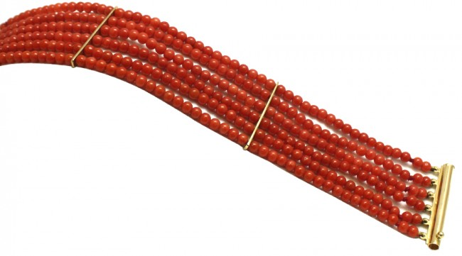 nuovi stili 275f8 ed59b Bracciale multifilo oro e corallo