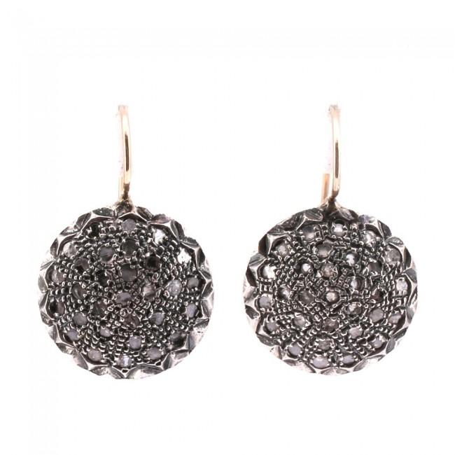 outlet negozio di sconto vero affare Orecchini toppe in stile, oro, argento e diamanti -1.8 ct; 13.01 gr