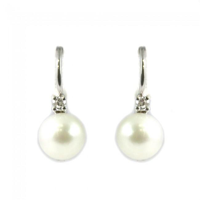 5debeaa7e4633a Orecchini oro, perle giapponesi -6,5-7 mm- e diamanti -0,75 ct; 0,08 gr