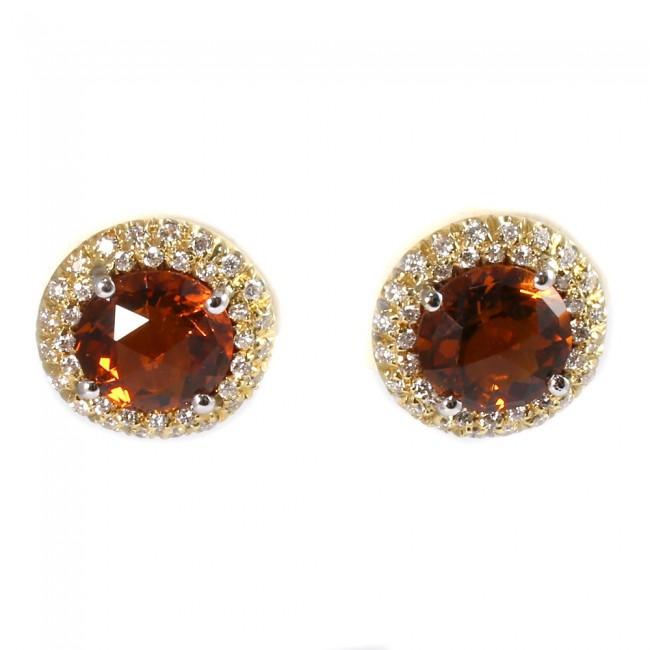 7044e58d4816dd Orecchini al lobo margherite circolari oro, quarzi citrini e diamanti