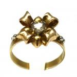 Anello oro fiocco in stile con diamante cuore