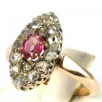Anello spola antico oro, rosa di Francia -0,40-0,50 ct-  e diamanti -0,45-0,50 ct