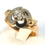 Anello solitario antico, stile decò autentico, oro e diamante - 0.35-0.40 ct-  2.85 gr