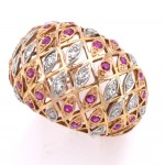 Anello antico liberty deco cupola maxi , oro, rubini - 0.55-0.60 ct- e diamanti -0.45-0.55 ct. 11.6 gr.