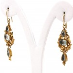Orecchini pendenti liberty, antichi, oro e acquamarina - 4-4.5 ct-  6.2 gr; 5 cm