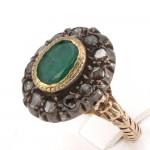Anello antico a margherita, in stile oro, diamanti - 0.25-0.30 ct- e smeraldi -1.80-2.00 ct-; 9 gr