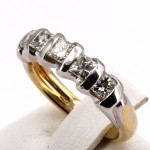 Anello riviera oro e 5 diamanti princess -0.95-1.05 ct; 5.65 gr